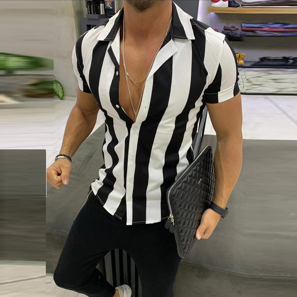 Striped Shirts Streetwear Men Casual Shirts Printed Homme Short Slim Fit Men Male Fashion Blouse Shirt Men's Clothing 2019 Z0605