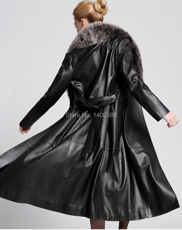 DL3007 Luxury Genuine Sheep Leather Coats With Fox Fur Collar Long ...