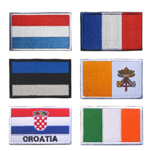 France Croatia Flag Patch Army Military Morale Tactical Hook Loop Embroidered Country Patches For Clothes Stripe