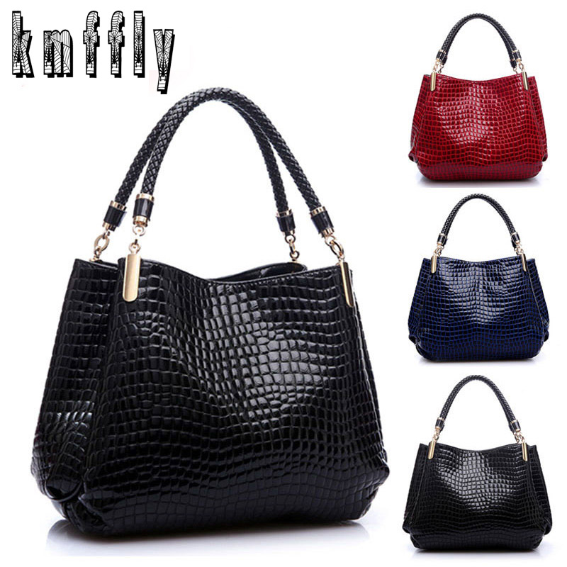 Famous Designer Brand Bags Women Leather Handbags 2018 Luxury Ladies Hand Bags Purse Fashion Shoulder Bags Bolsa Sac Crocodile-in Top-Handle Bags from Luggage & Bags