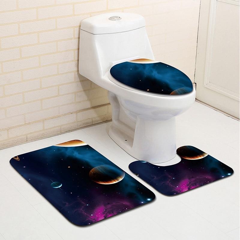 Bathroom Carpet Set Carpet Lid Cover <font><b>Bathmat</b></font> Comfortable Non-Slip Contour Rug Starry Sky Pattern Carpet Mat for Toilet Rugs