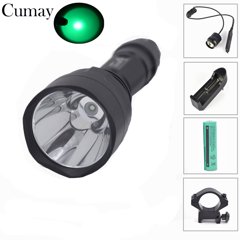 1 mode Tactical Flashlight linterna led Lanterna LED 18650 Torch Green Light lampe torche Tactical Mount Battery Pressure Switch
