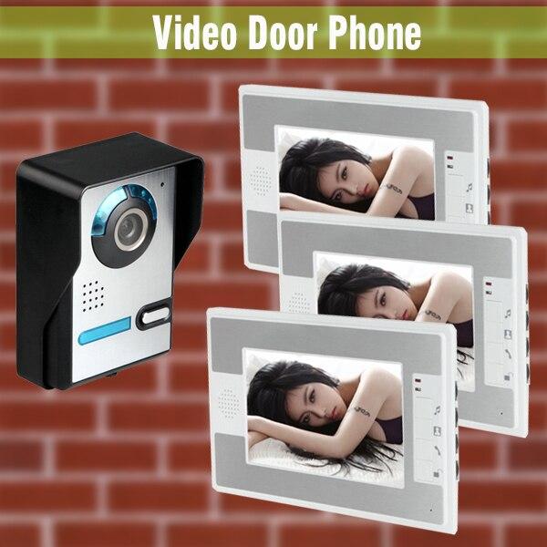 1v3 телефон видео домофон 7 дюймов ЖК-дисплей Мониторы дверь проводной Видеодомофоны дверной звонок Камера дома Видеодомофоны системы