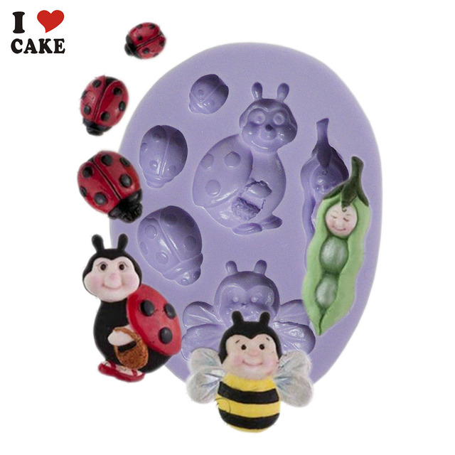 FA834 Bee Pods Baby Ladybug Kitchen Accessories Cupcake Silicone Cake Mold Fondant Decorating Tools