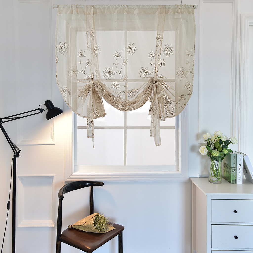 Embroidery Adjustable Tie Up Curtain Shades Balloon Curtains For Kitchen Bathroom Small Window 46inch Wide X 63inch High Curtains Aliexpress