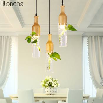 Luces Colgantes Modernas LED De Madera + Lámpara Colgante De Cristal Para Cocina, Sala, Comedor, Loft Nórdico, Botella De Decoración, Accesorios De Iluminación