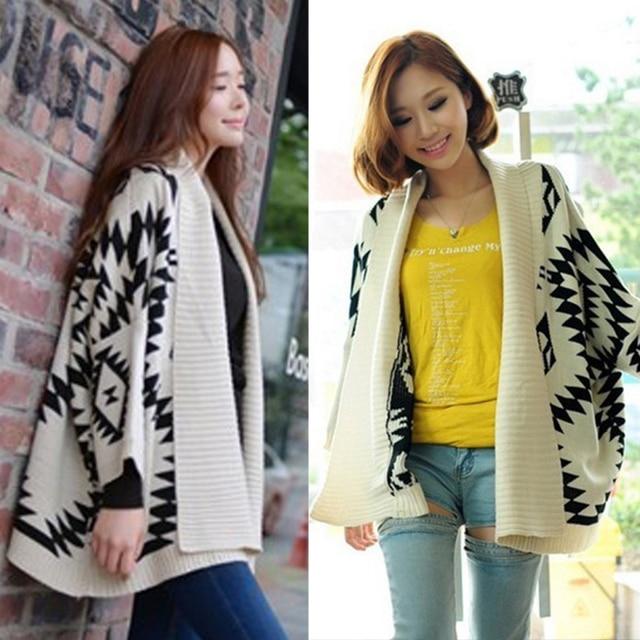 4d7bddf63 Winter Women Oversized Sweaters Batwing Sleeve Geometric Floral Knitting Cardigan  Sweater Jumper Knitwear Outwear Baggy Coat Top