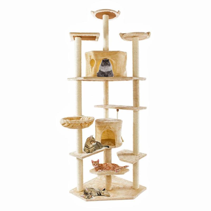 203 CM griffoir poteau bois chat escalade arbre jouet chats chaton sautant debout cadre chat jouet gratter meubles de maison