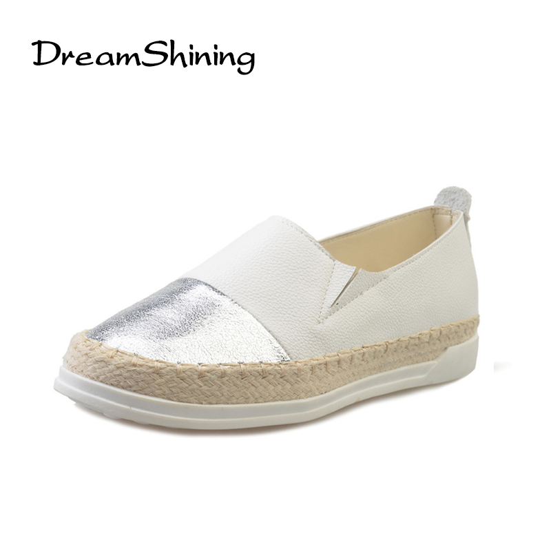 DreamShining Fashion Glitter Loafers Summer Slip On Flats Fisherman Shoes Woman Casual Spring Women Flat Shoes Sliver Golden xiaying smile woman flats women brogue shoes loafers spring summer casual slip on round toe rubber new black white women shoes