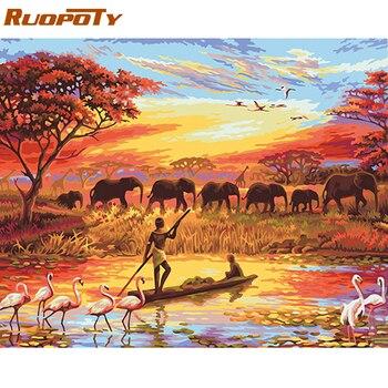 Ruopoty Bingkai Gambar Gajah Diy Lukisan By Angka Lanskap Moderen Dinding Seni Akrilik Lukisan Kanvas untuk Dekorasi Rumah 40 Cm X 50 Cm