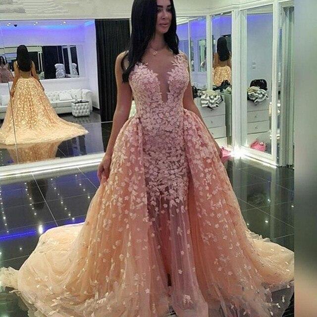 Vestido De Festa Backless Pink Prom Dresses With Appliques Mermaid