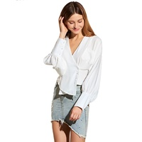 Young17 Fall Spring Sexy V Neck Blouse Office Lady Long Sleeve Top Female Lantern Sleeve Irreguar