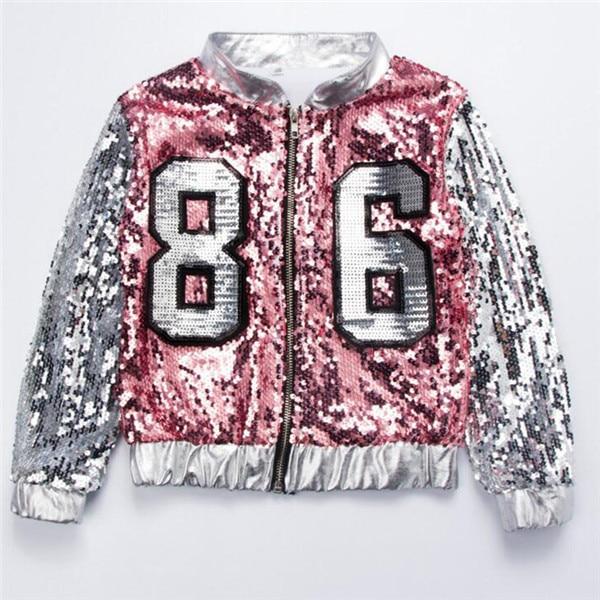Детский Джазовый современный танцевальный костюм детская одежда в стиле хип-хоп Уличная одежда, куртка в стиле хип-хоп с блестками, футболка Платья для девочек в стиле джаз - Цвет: Jacket
