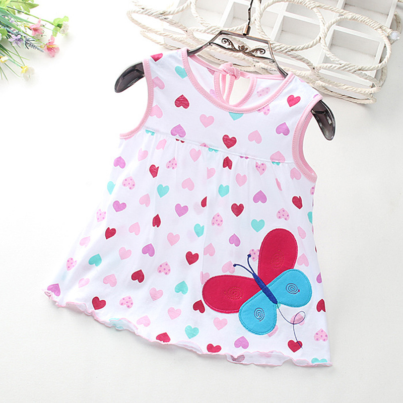 Cartoon Pattern Baby Girl Dress Soft Cotton Summer Baby Dress Casual Loose O-neck Infant Girl Dresses 7 Colors