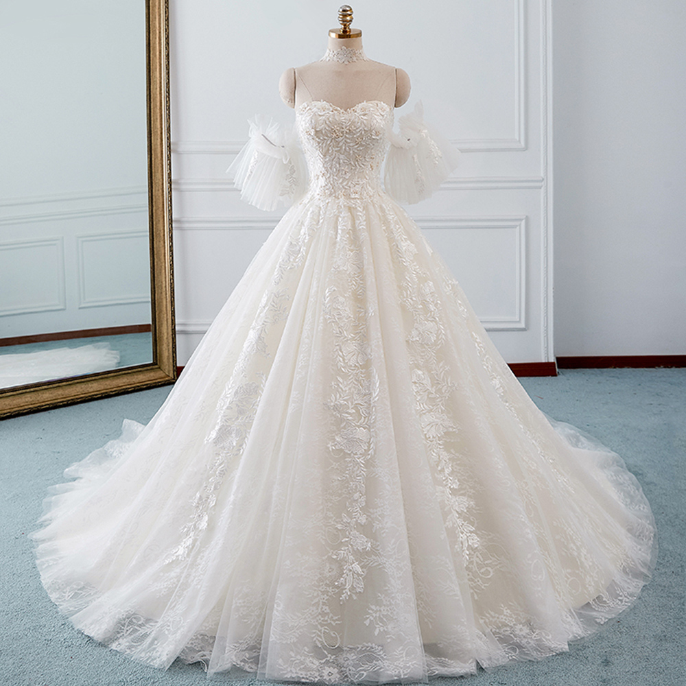 Wedding Gown Online Shopping: Beading Appliques Lace Ball Gown Wedding Dresses With