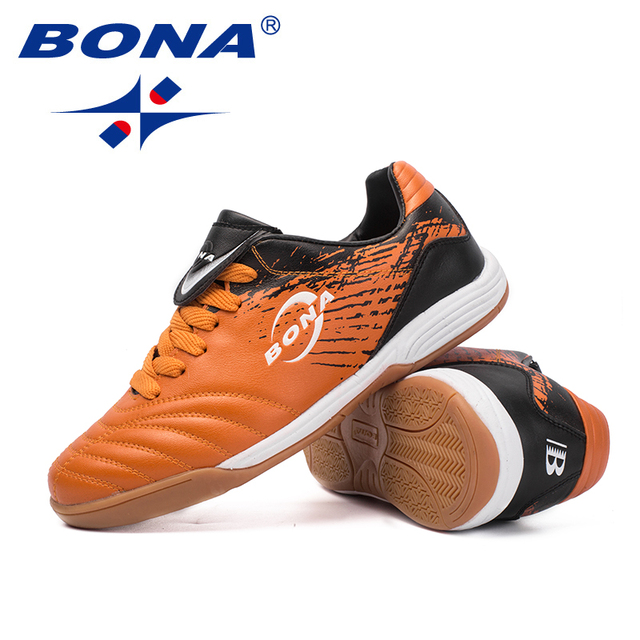 BONA New Arrival Classics Style Men Soccer Shoes Lace Up Men Football Trainer Shoes Leather Male Athletic Shoes Free Shipping