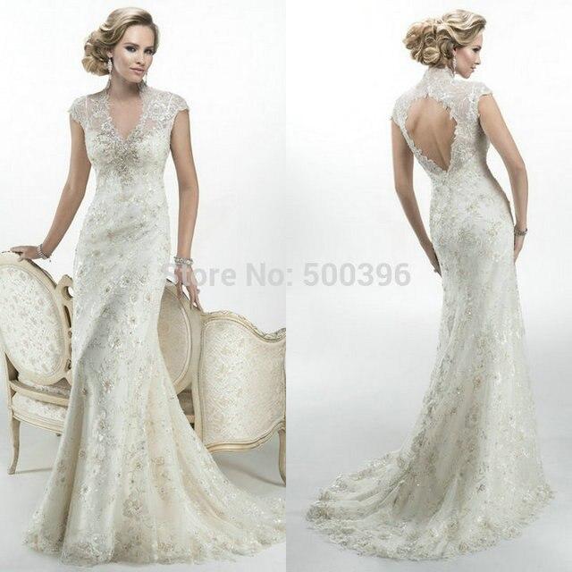Perlen Kappe Ärmel Brautkleid | Kleid & Kleidung