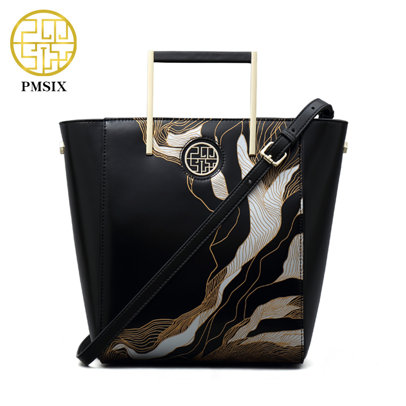 цена на PMSIX Brand Luxury Handbags Women Bags Embossed Designer Ladies Leather Shoulder Bags Female Black Large Tote Bag P120068