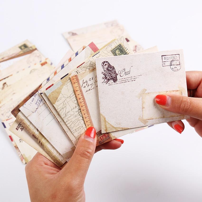 12 Pcs/lot 12 Designs Vintage Kraft Paper Envelope Cute Mini Envelopes Vintage European Style For Card Scrapbooking Gift