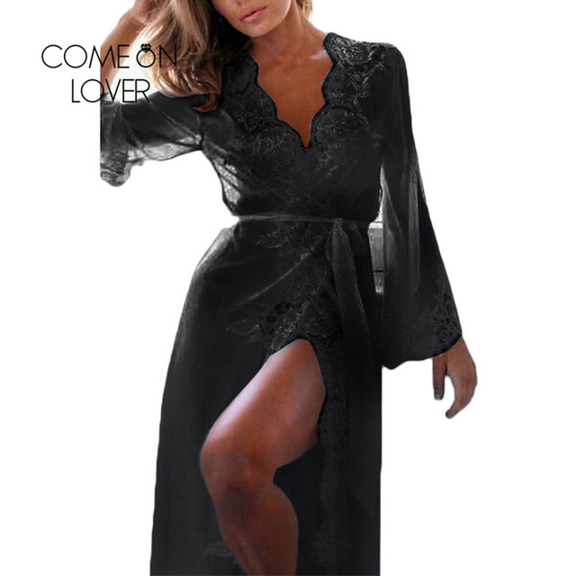 cccaacbe150 US $8.99 18% OFF Comeonlover Lace Long Sleepwear Gown Black White Long Lace  Nightgowns Robe Nuisette Longue Plus Size Sexy Nightdress RI80507-in ...