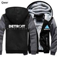 US size for Men Women Hoodies Game Detroit Become Human Cosplay Coat Zipper Hoodie Winter Fleece Thicken Jacket Sweatshirts