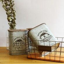 Ретро Ностальгический железный ящик с деревянной крышкой для чая, кофе, сахара, баночки для хранения, винтажная банка для хранения конфет, мелочей