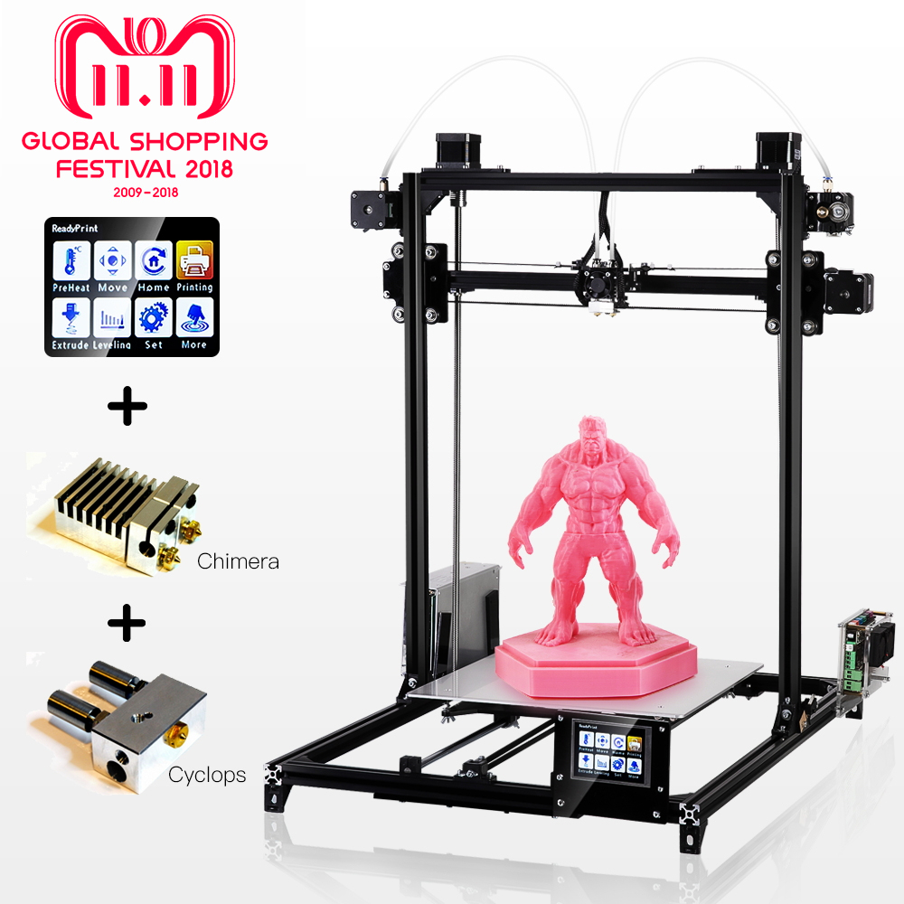 Flsun 3D Printer High Precision Large Printing Size 3D Printer Touch Screen Dual Extruder Heated Bed One Rolls Filament Gift