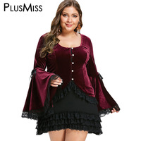 PlusMiss Plus Size 5XL Gothic Bell Flare Sleeve Lace Velvet Party Dresses Women Vintage Retro Elegant Mini Short Dress Big Size