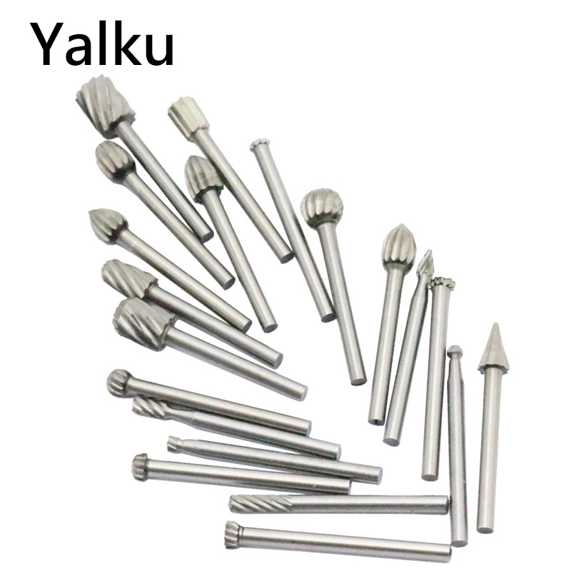 Yalku Milling Cutter Drill Bit Engraving Bits Rotary File Electric Engraving Cutter DIY Wood Tool Set for Dremel Accessories