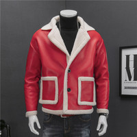 Leather Jacket Fur Men Red Black Drop Shoulder Wash Pu Leather Jacket Men 2 Button Suit Collar Coat Men Fur Men Jacket