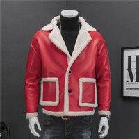 Leather Jacket Fur Men Red Black Drop Shoulder Wash Pu Leather Jacket Men 2 Button Suit Collar Coat Men Fur Men Jacket
