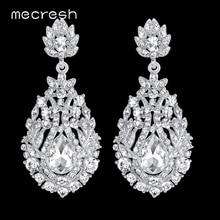 Mecresh Big Teardrop Crystal Bridal Long Earrings for Women Silver/Gold Color Wedding Party Hanging Earrings Jewelry MEH729