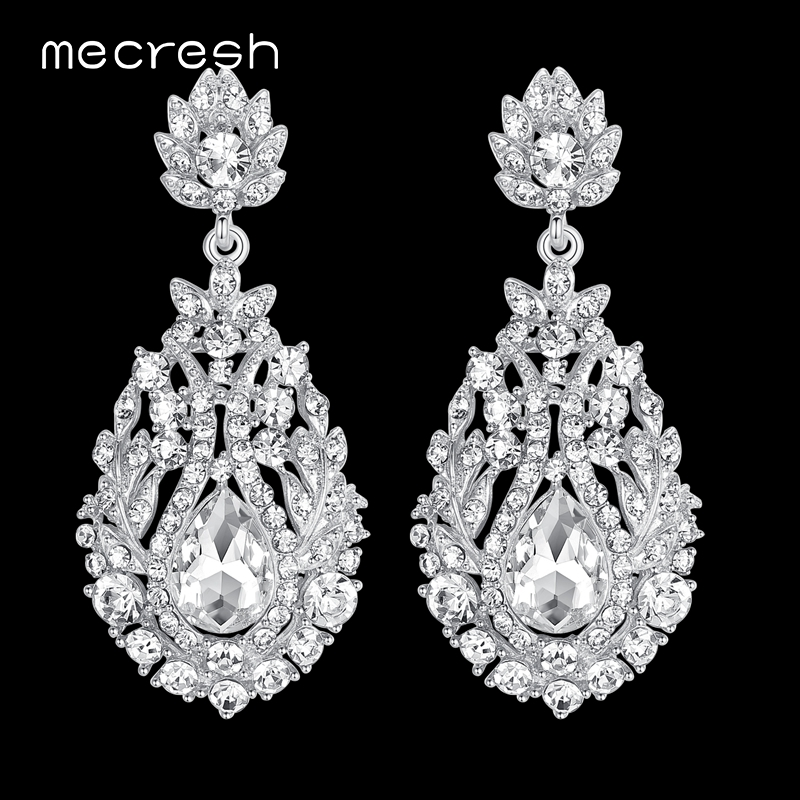 Mecresh Big Teardrop Crystal Bridal Long Earrings for Women Silver/Gold Color Wedding Party Hanging Earrings Jewelry MEH729