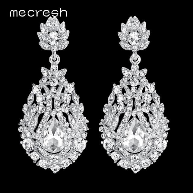 Mecresh большой слеза кристалл свадебные длинные серьги для женщин серебро/золото цвет Свадебная вечеринка серьги-подвески ювелирные изделия MEH729
