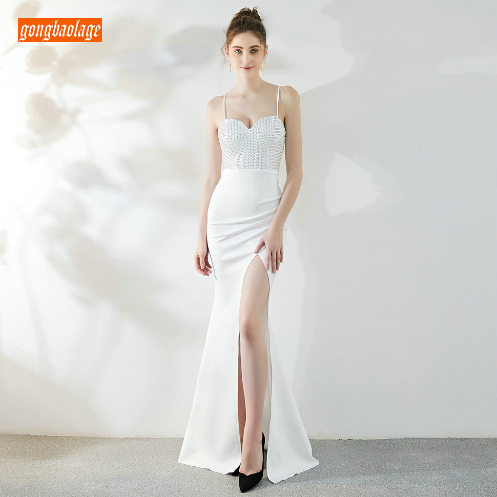 fashionable Ivory Mermaid   Prom     Dresses   Long 2019 Sexy Formal   Dress     Prom   Sweetheart Elastic Satin Side Slit Slim Fit Evening Gown