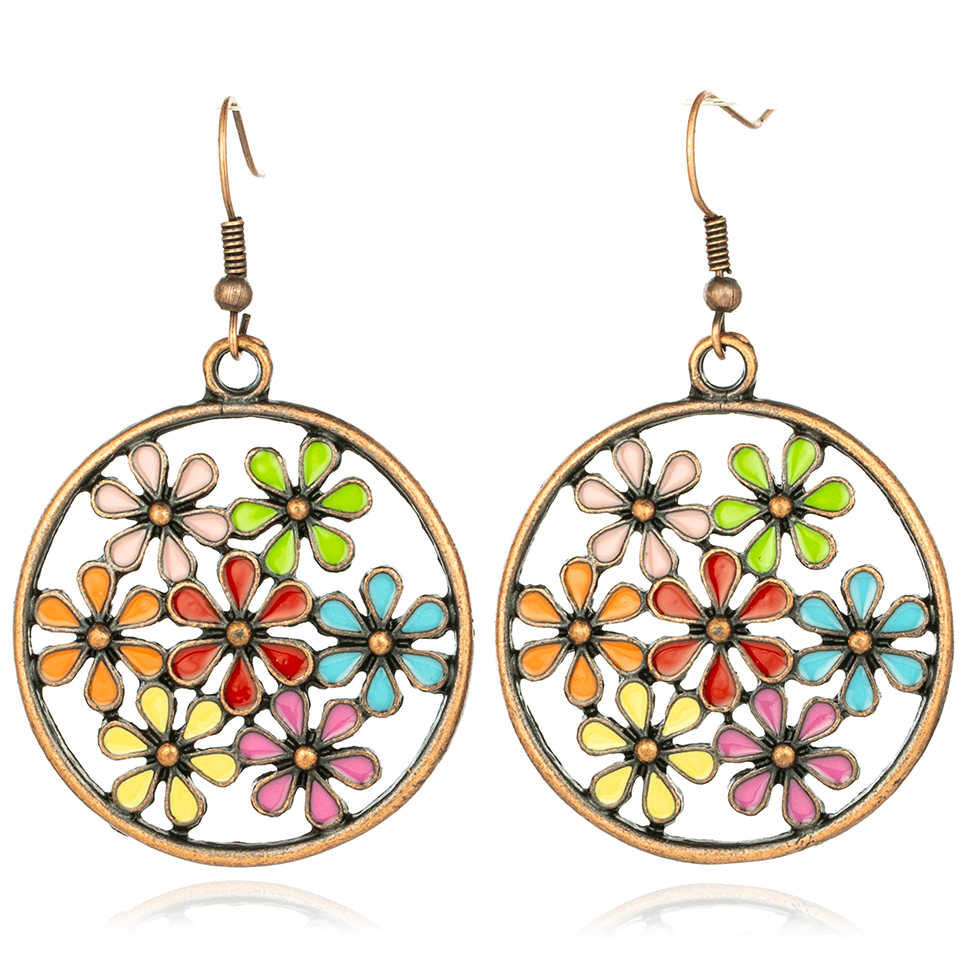 Vintage Bohemian Boho Ethnic Antique Flower Oil Drip Hollow Round Drop Earrings for Women 2018 Fashion Jewelry Accessories