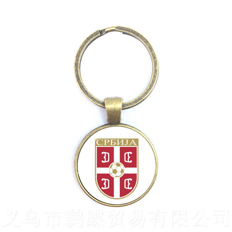 Serbia,Switzerland,Sweden,England,Iran National Football Team Logo Keychain Rings Holder Fans Souvenir Gift For Men Women