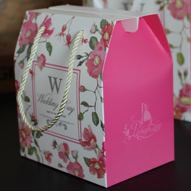 20pcs Printing Wedding Gift Box Elegant Various Shapes Handbag Guest Gift Box Party Sweet Favors Paper Candy Box in Gift Bags Wrapping Supplies from Home Garden