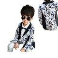 Moda niño chico chaqueta de la capa suave Resorte de la impresión floral causal suit coat para 3-10years niños varones los niños ropa de abrigo ropa caliente