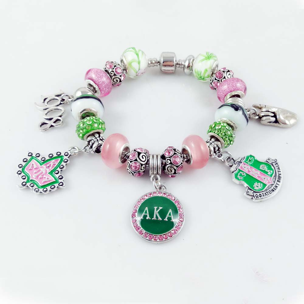 AKA Sorority Beads Fit European Charm Bracelet Dangle