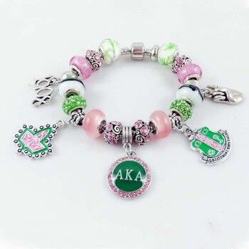 6f5b33ebb7f3 Beyou compras de la gota nuevo AKA Sorority Ivy 1908 rosado redondo encanto griego  brazalete personalizado