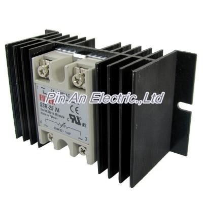 цена на Single Phase Solid State Relay SSR-25VA 25A 24-380V AC 500K Ohm + Heat Sink