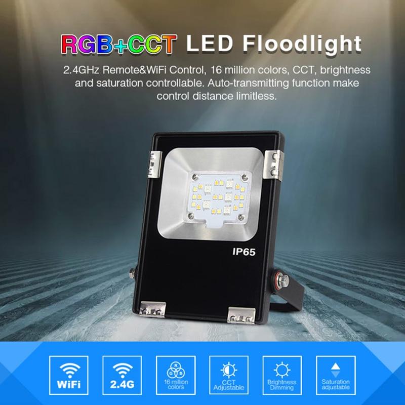 Milight 10W RGB+CCT LED Flood light IP65 Waterproof AC86-265V Outdoor Lighting For Garden FUTT05 2.4G 8 zone remote