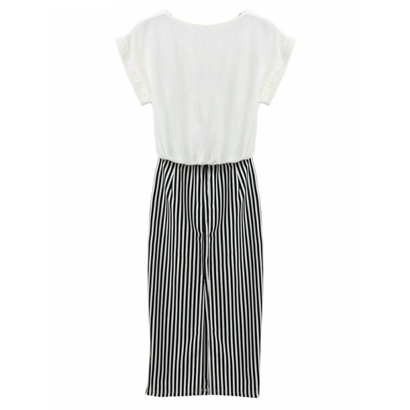 2019 Summer Women 2 in 1 One-piece Letter Print Striped Blouse Dress Midi Short Sleeve Bodycon Long Dress Plus Size