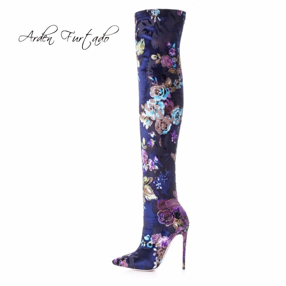 Arden Furtado 2018 primavera otoño tacones altos 12cm moda flores botas para mujer sobre la rodilla estiramiento botas stilettos de gran tamaño-in Botas sobre la rodilla from zapatos    1