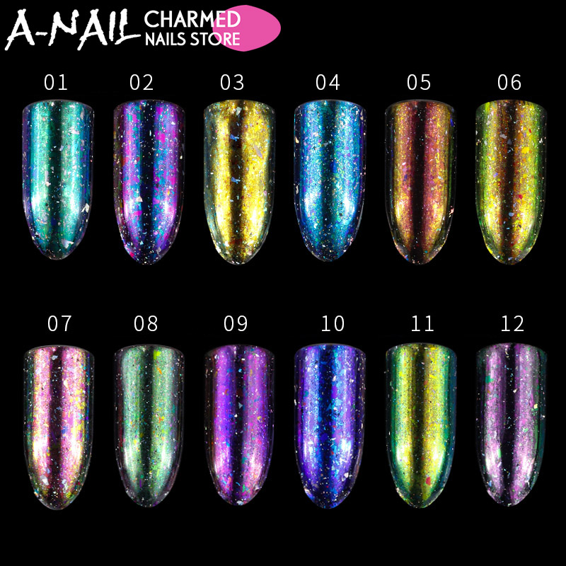 12 jars/set Aurora Chameleon Holographic Nail Art Glitter Powder Paillette Nail Sequins Flakes Manicure Nails Vtirka Decoration nail glitter 1box 1g ab color iridescent flakies star heart round nail art sequins decoration manicure paillette pink silver