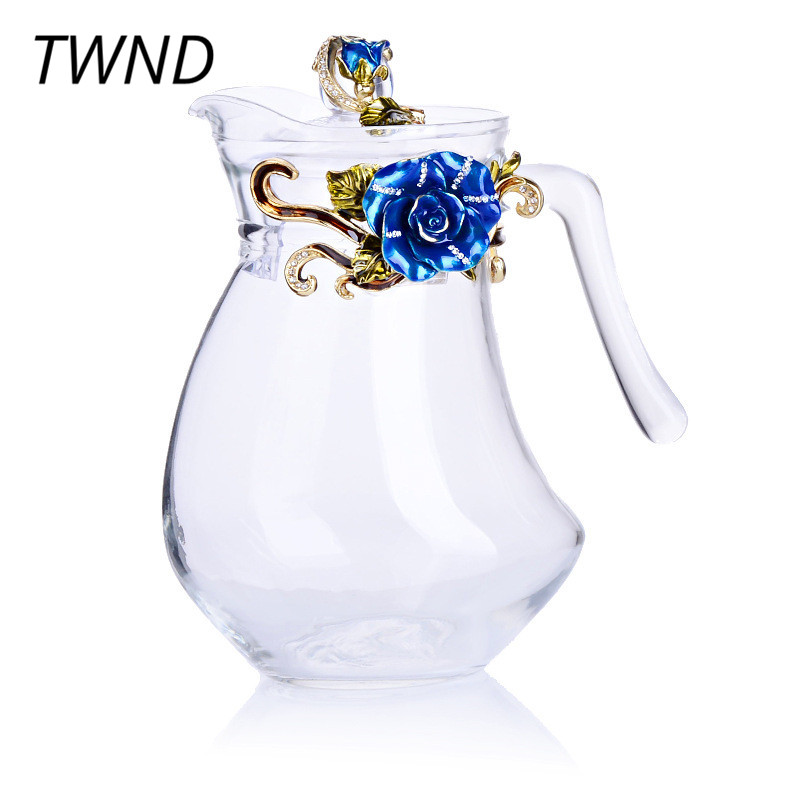 1300CC Europe glass teapot color enamel tea coffee pot large capacity kettle creative drinkware