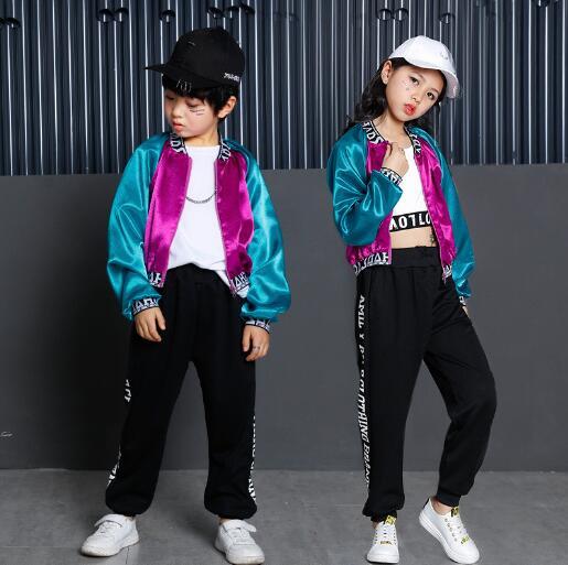 Children hip Hop Dance Costume Boys Girls Sports Suit Spring Autumn Kids Clothes Child Jazz Dance Wear Clothing 3Pcs Sets