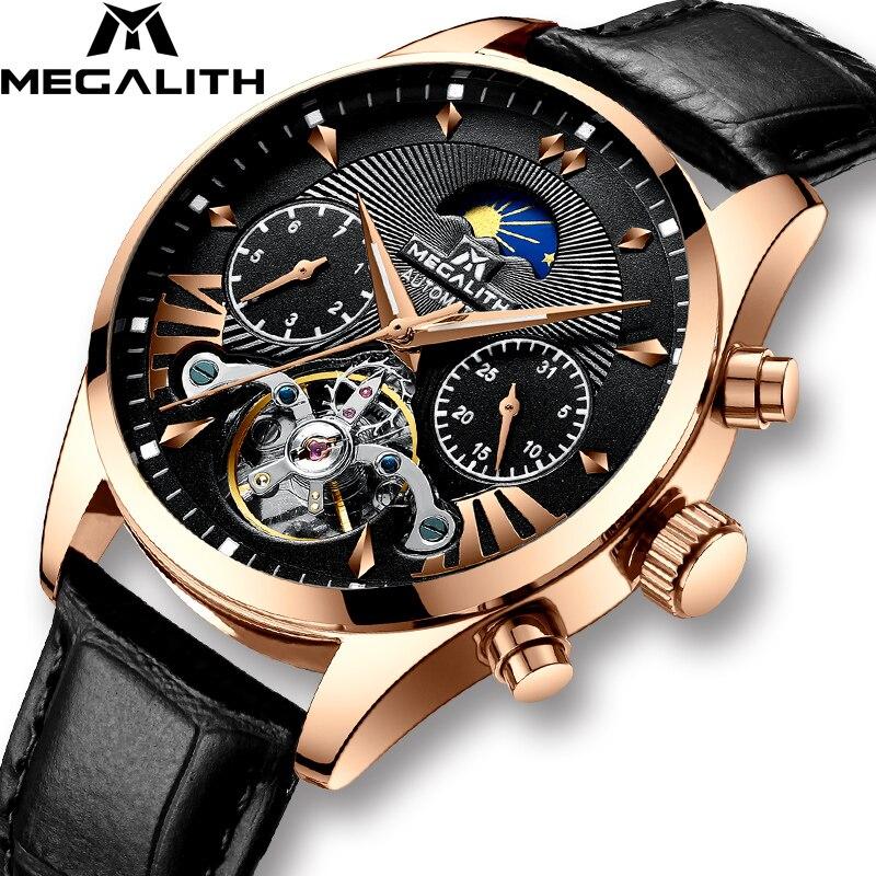 MEGALITH Men Watches Automatic Mechanical Watch Fashion Classic Business Watch Men Tourbillon Waterproof Male Sport Wristwatches