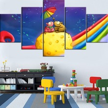 Hot Sell HD Printed 5 Pieces Painting Framed On Cheese And Rainbow Mouse Cartoon Type Poster For Home Decor Living Room